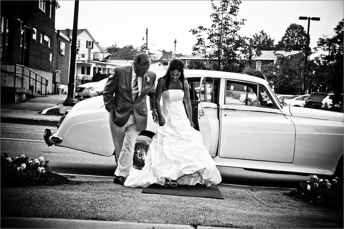 Wentworth by the Sea Wedding Photography bride walking from limo to church