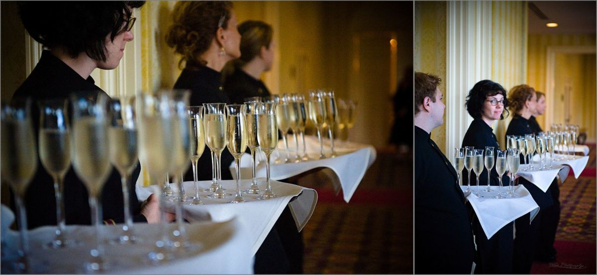 Wentworth by the Sea Wedding Photography champagne servers