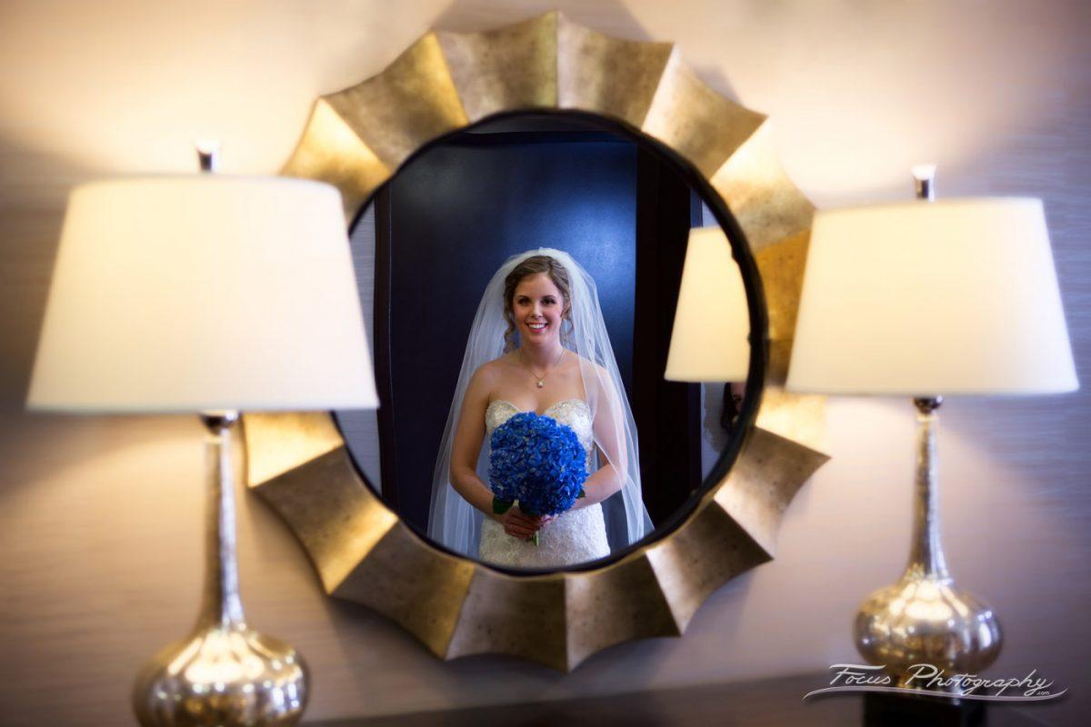 bride in mirror Hilton Garden Inn, Auburn Wedding