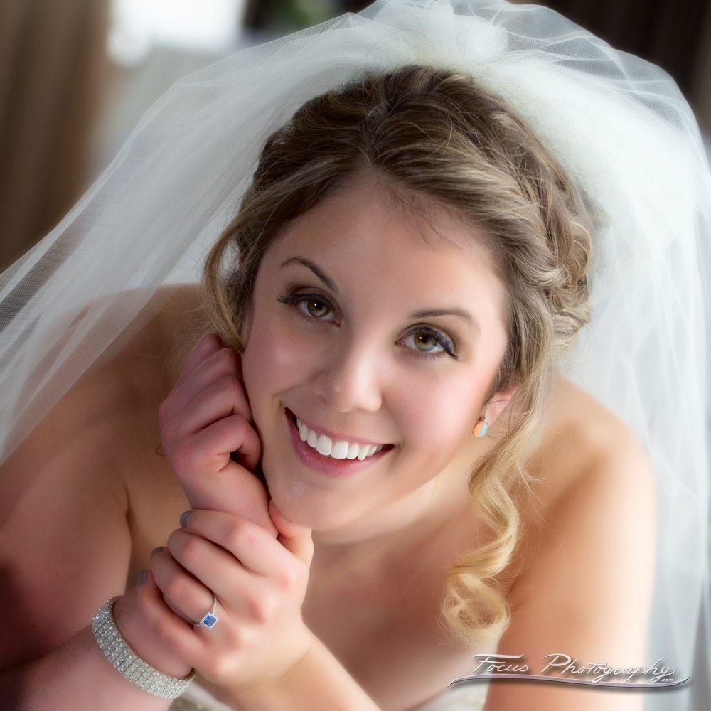 portrait of bride at Hilton Garden Inn, Auburn Wedding