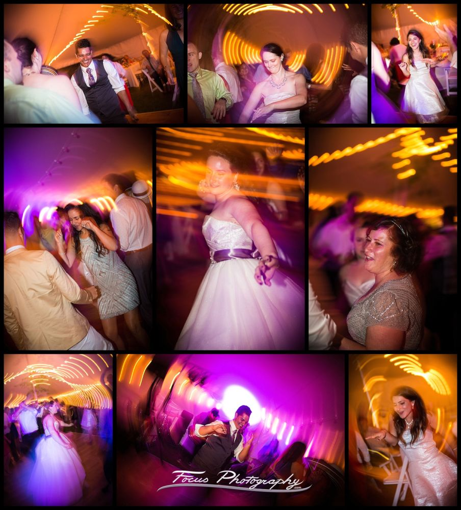 wedding photos of celebration and dancing at Falmouth, Maine Wedding. Photographers Will and Lucia of Focus Photography
