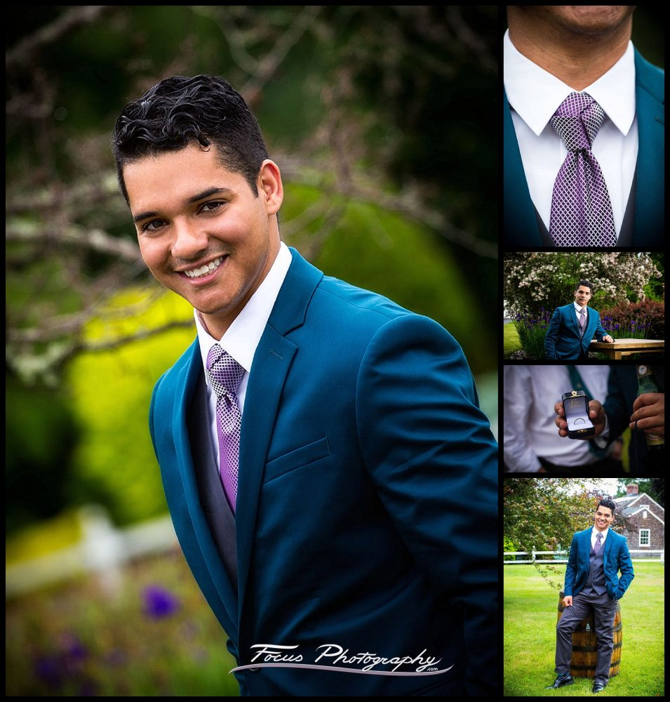 Portraits of the groom and the most amazing tie knot ever on a wedding