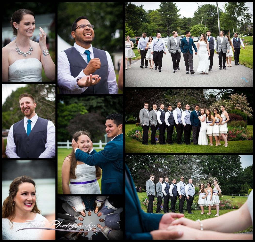 maine wedding photography of wedding party at backyard wedding in Falmouth Foreside