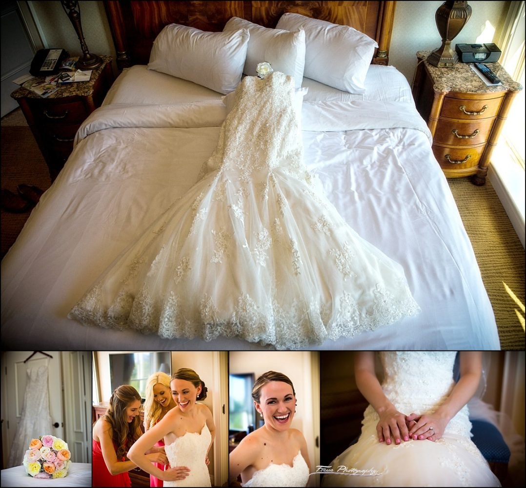 bridal gown at Wentworth by the Sea wedding in New Castle, NH