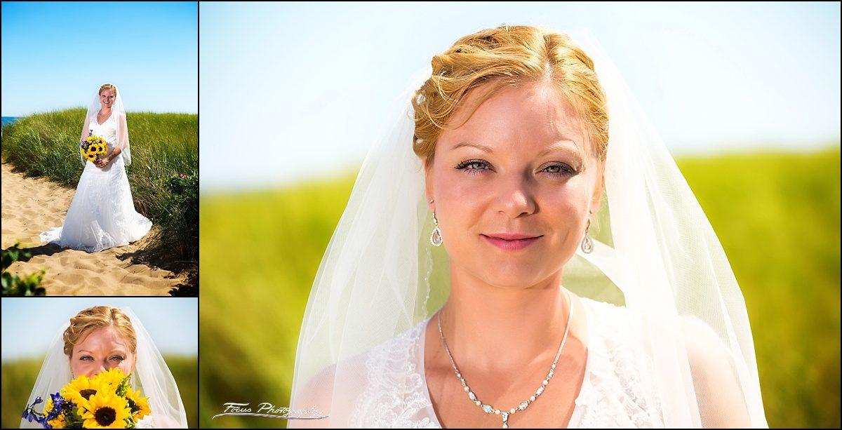 bride before Dunegrass wedding | Old Orchard Beach, Maine
