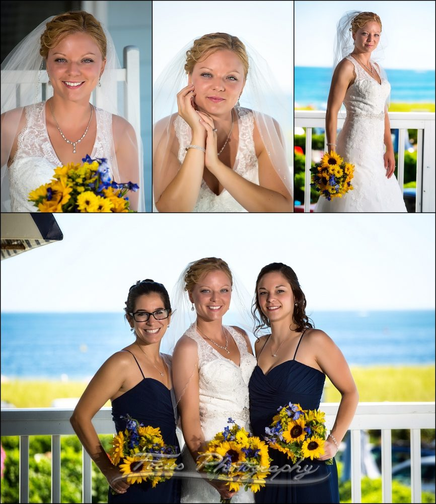 bride with maids at Dunegrass wedding | Old Orchard Beach, Maine