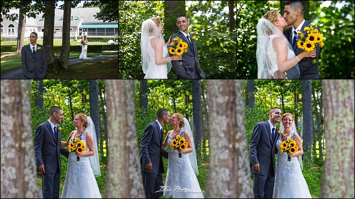first look at Dunegrass wedding | Old Orchard Beach, Maine