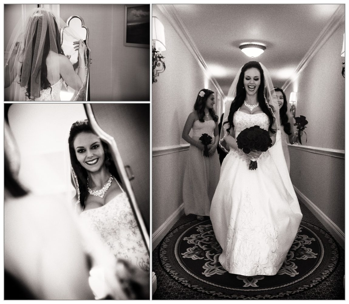 bride in black and white at Wentworth by the Sea