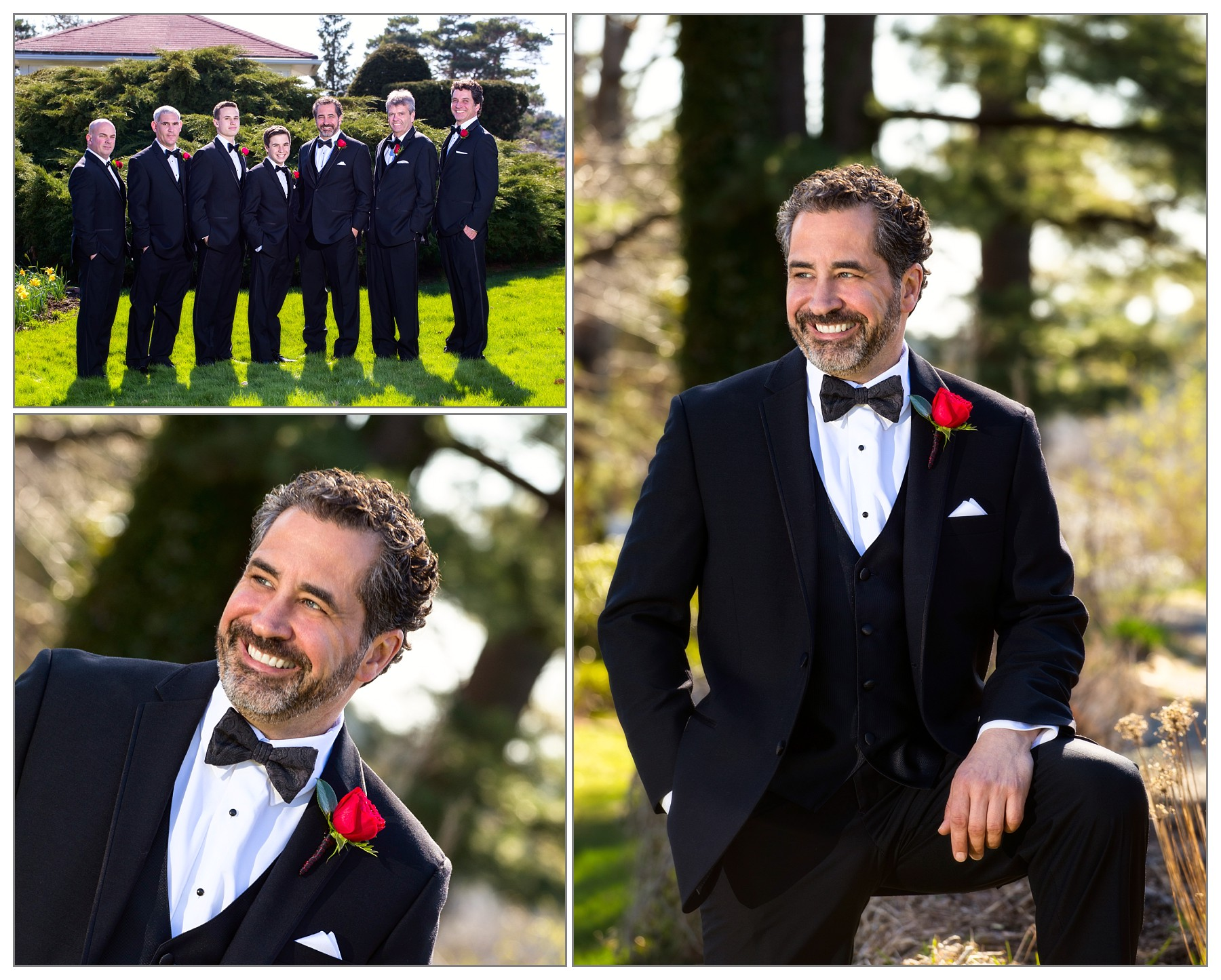 groom and men at Wentworth by the Sea hotel wedding
