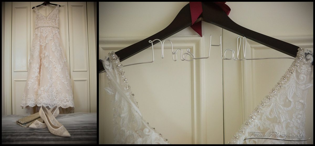 wedding dress and hanger with wire text art