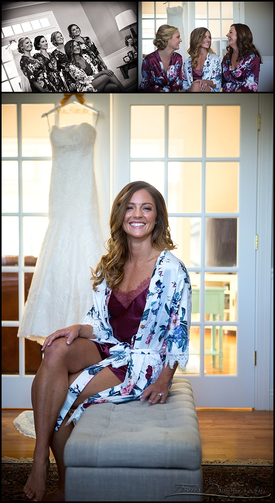 bride in robe with wedding gown
