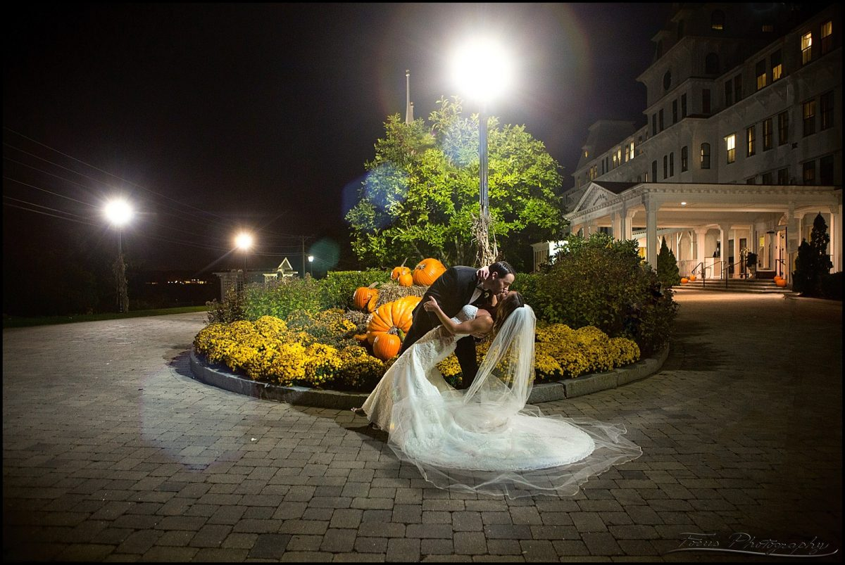 Night photo of bride and groom at Wentworth by the sea