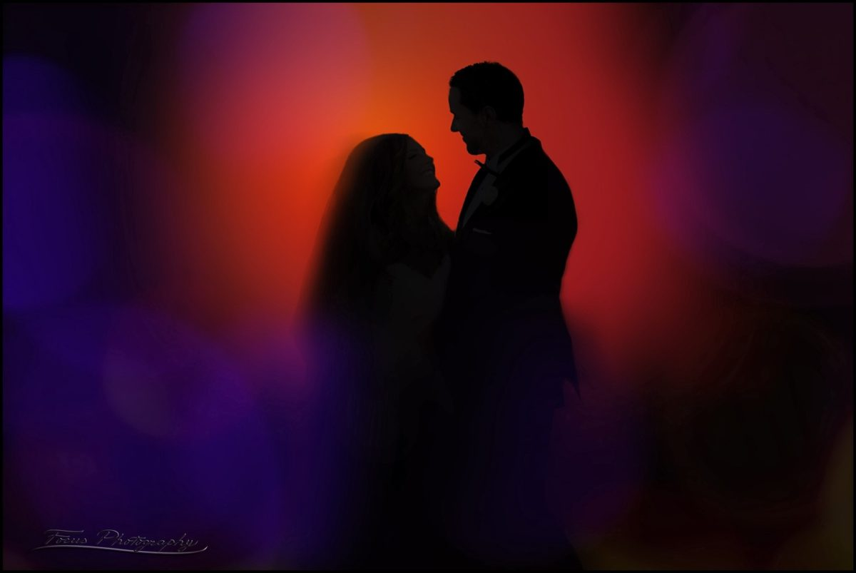 Night photo with colored lights at Wentworth by the Sea hotel Wedding
