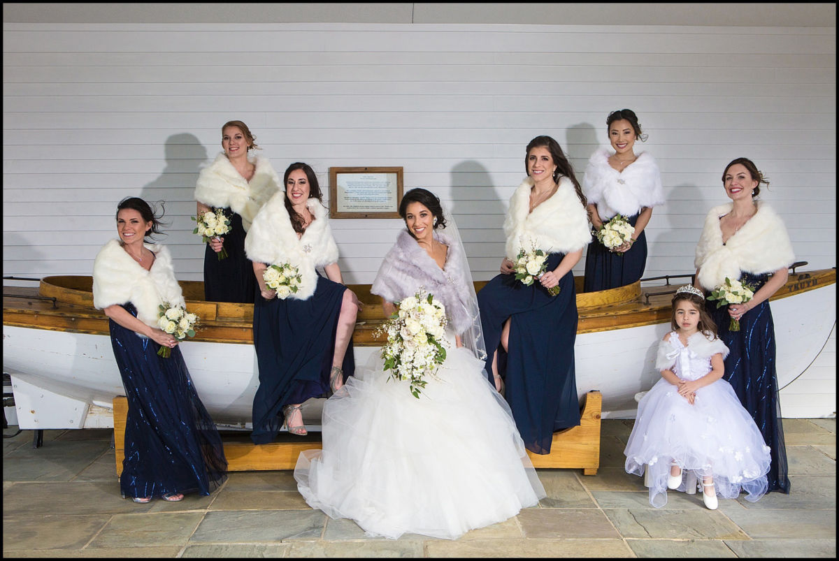 bridal party on small boat