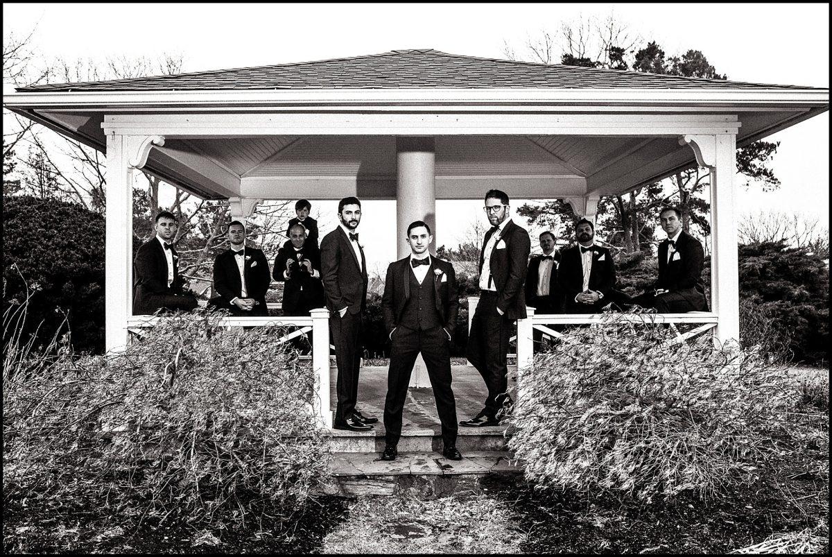 groomsmen in gazebo at Wentworth gardens
