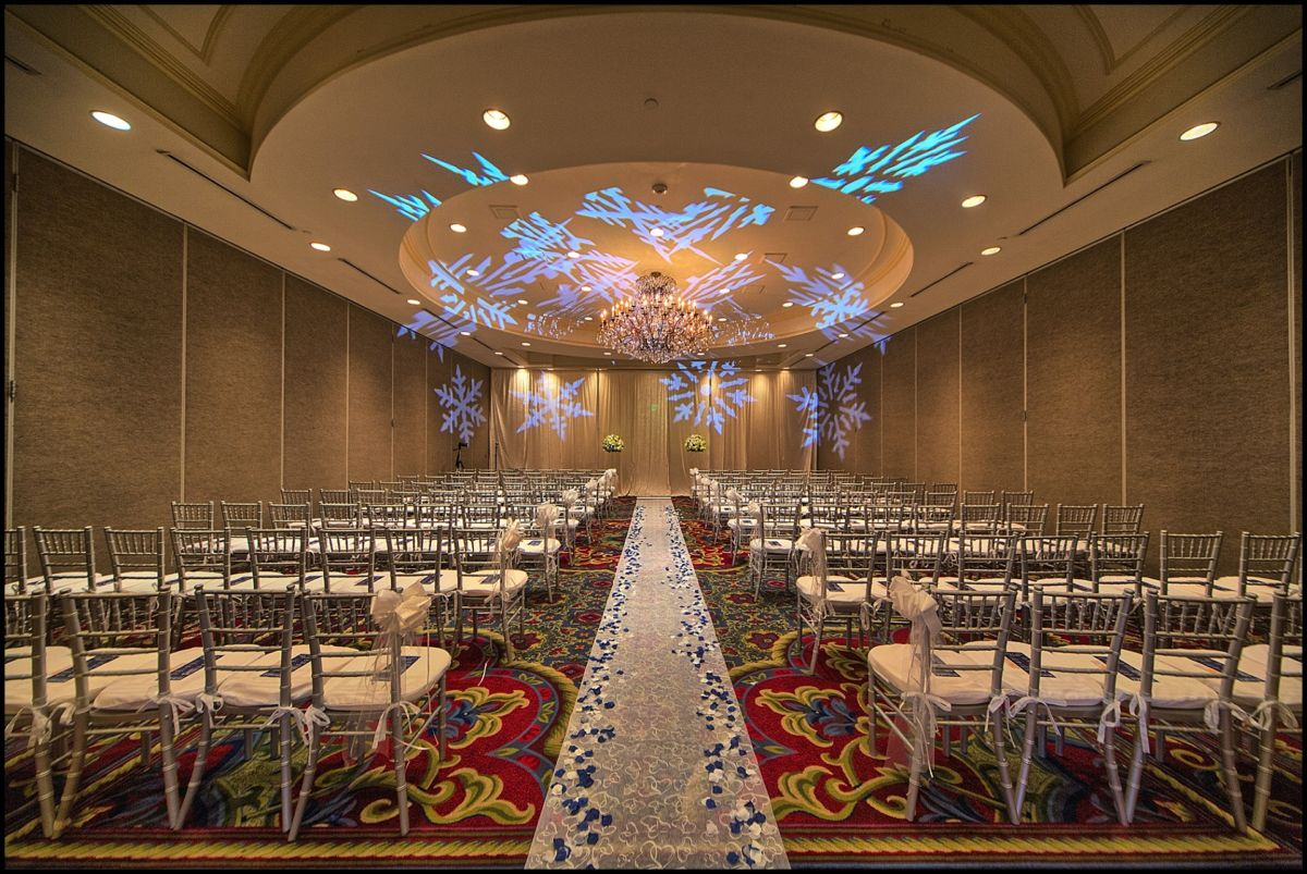 The center third of the Wentworth ballroom. Snowflakes were projected by Entertainment Specialists.