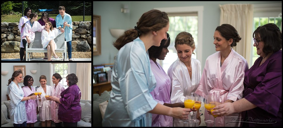 bridesmaids getting ready in new hamshire wedding