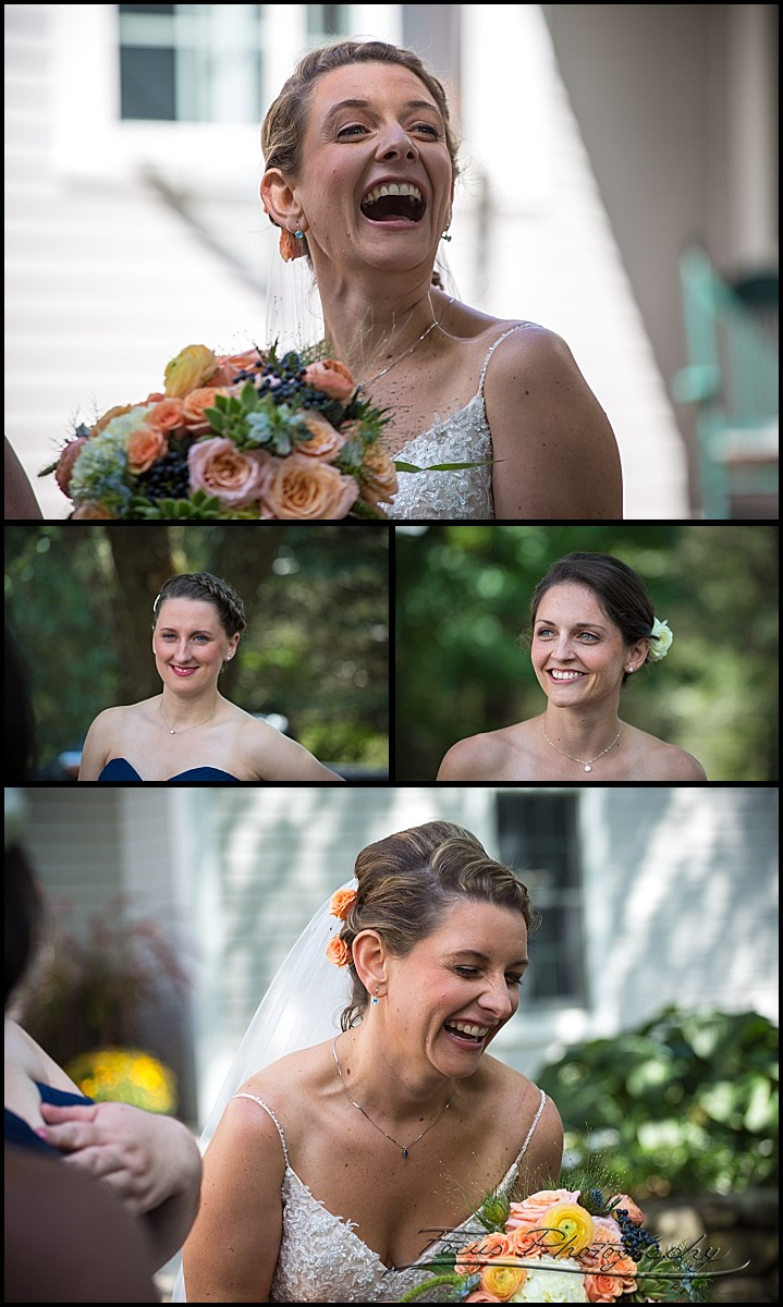 bride laughing with maids
