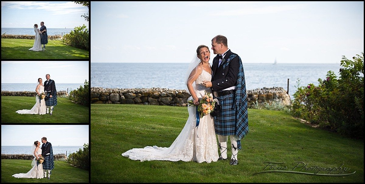 bride and groom at rye beach in new hampshire wedding