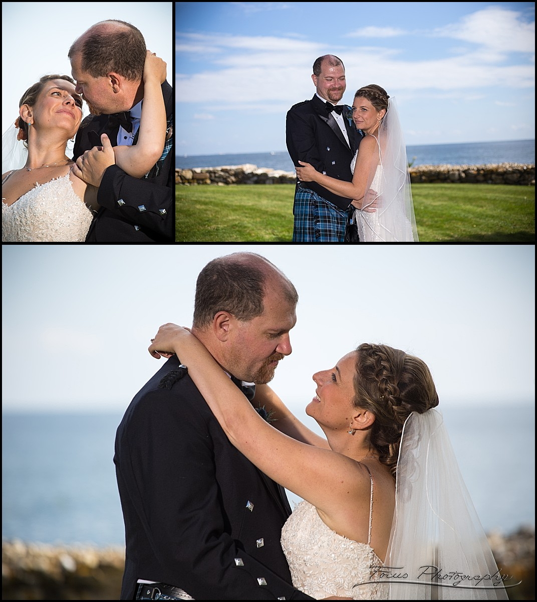 wedding couple at rye beach