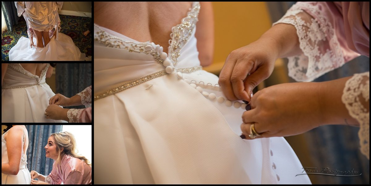 maid of honor snapping the dress buttons