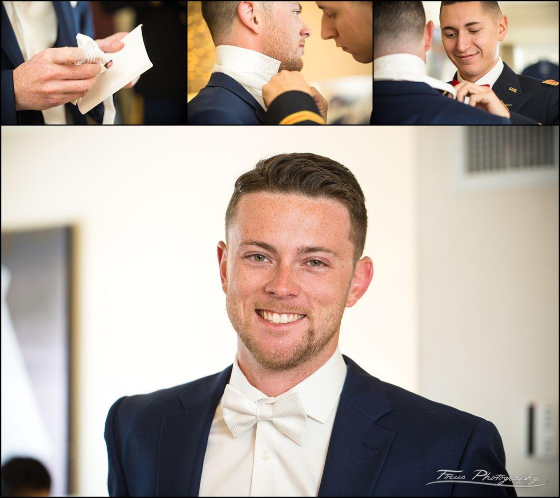 Sam & Steve's Wentworth Wedding - groom getting his bow tie on