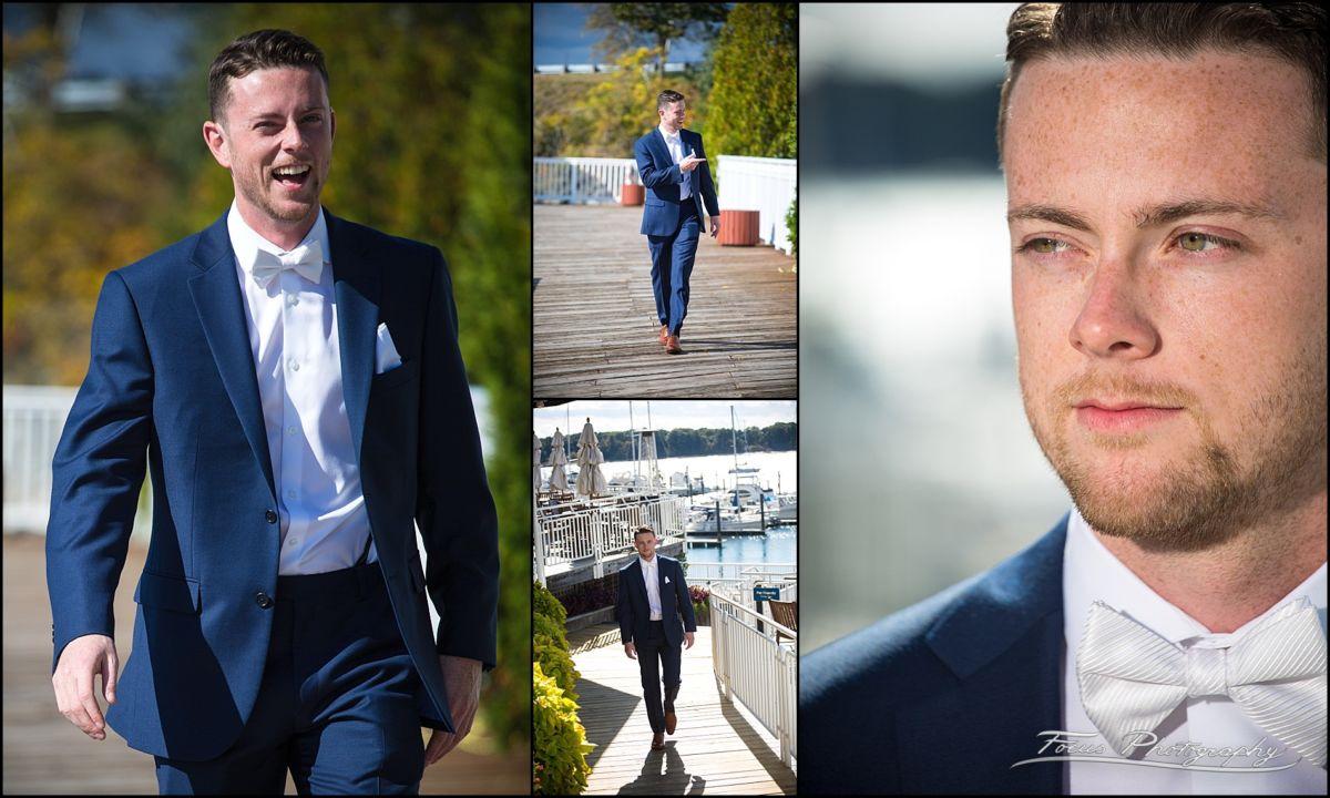 Sam & Steve's Wentworth Wedding - groom at marina