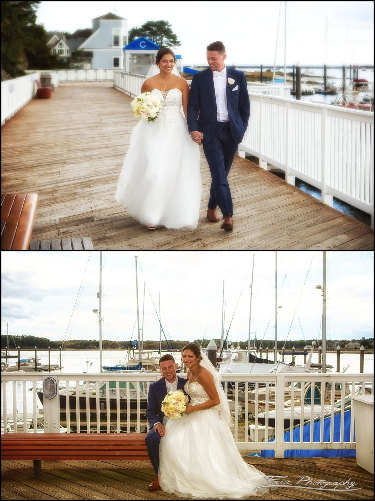 Wentworth by the Sea Wedding photography - bride and groom walk and sit at marina