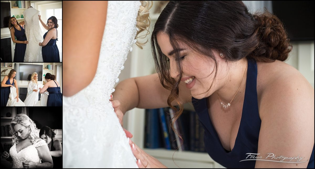 Getting the bride's dress on