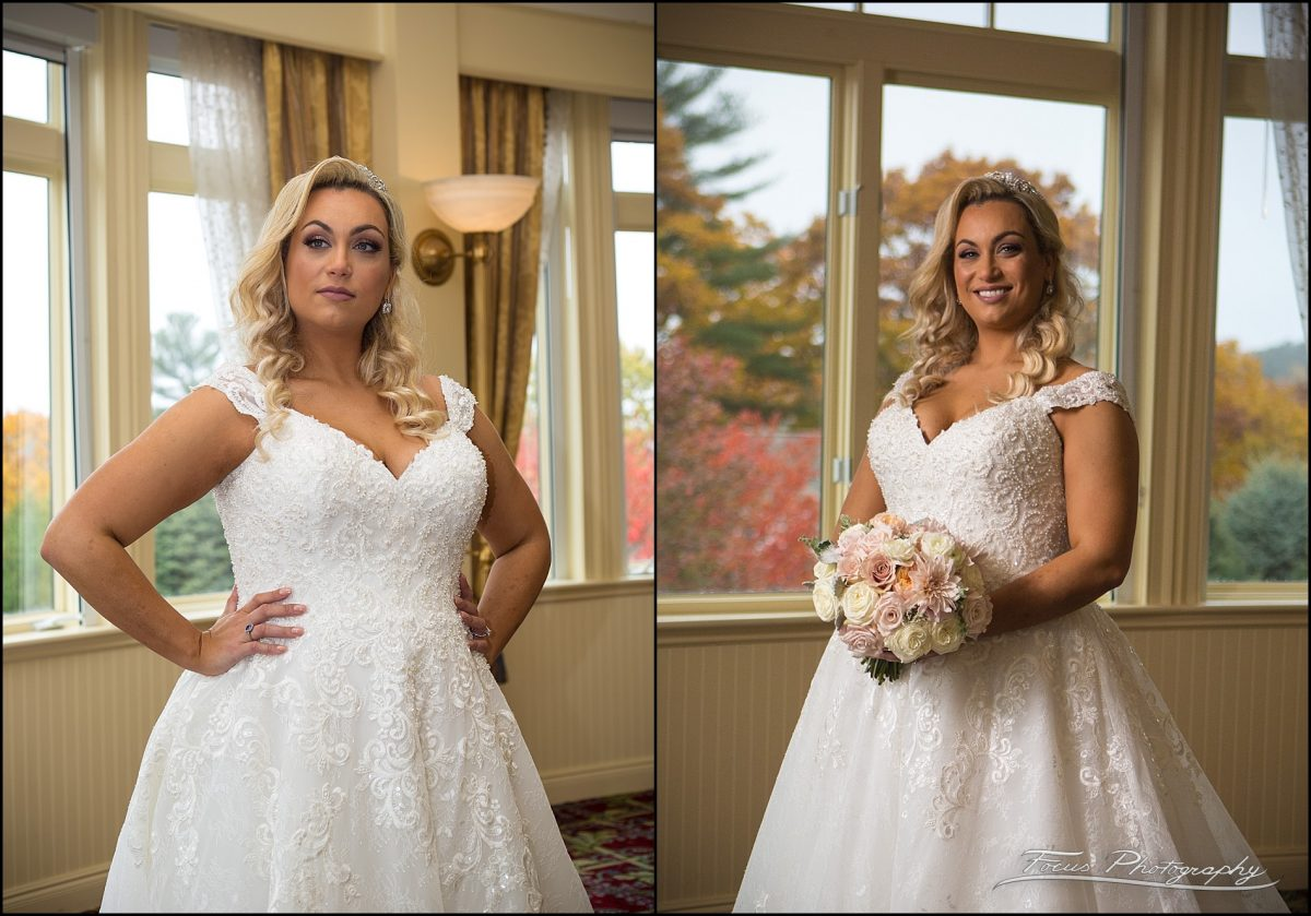 Bridal portraits in the solarium at Wentworth by the Sea Wedding
