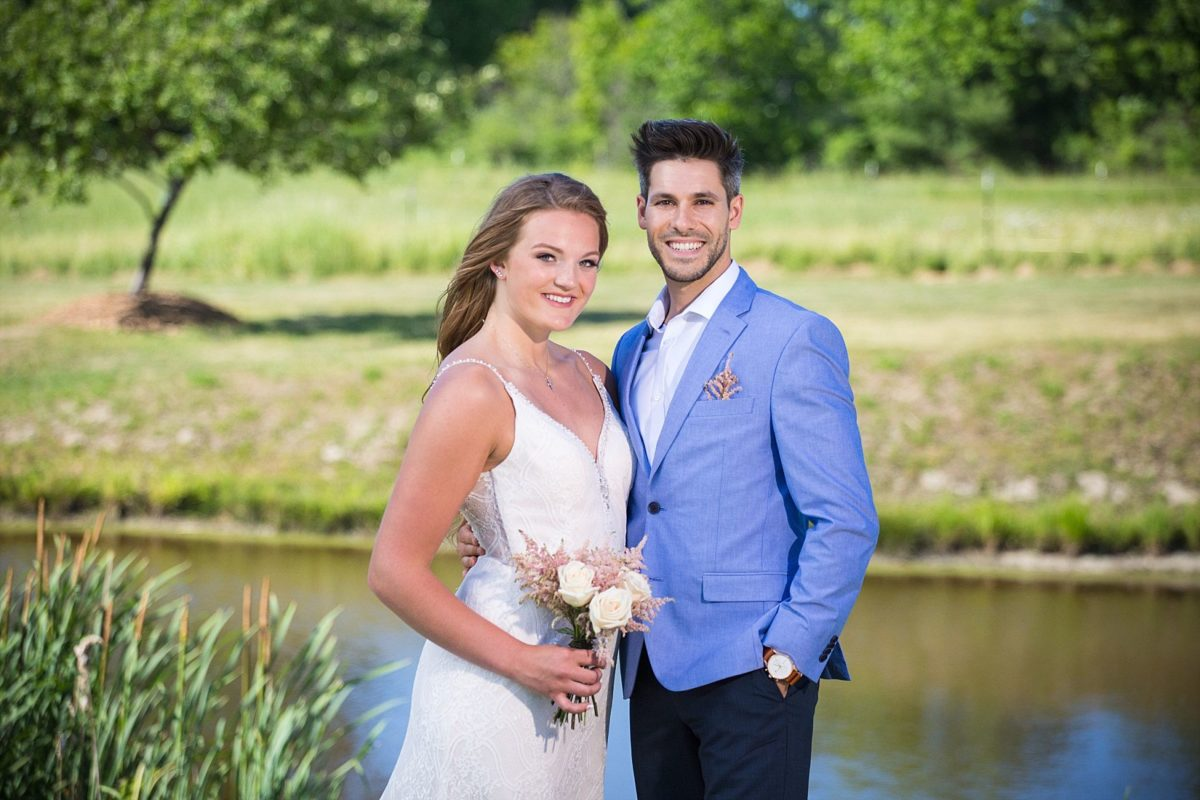 bride and groom at river winds farm wedding
