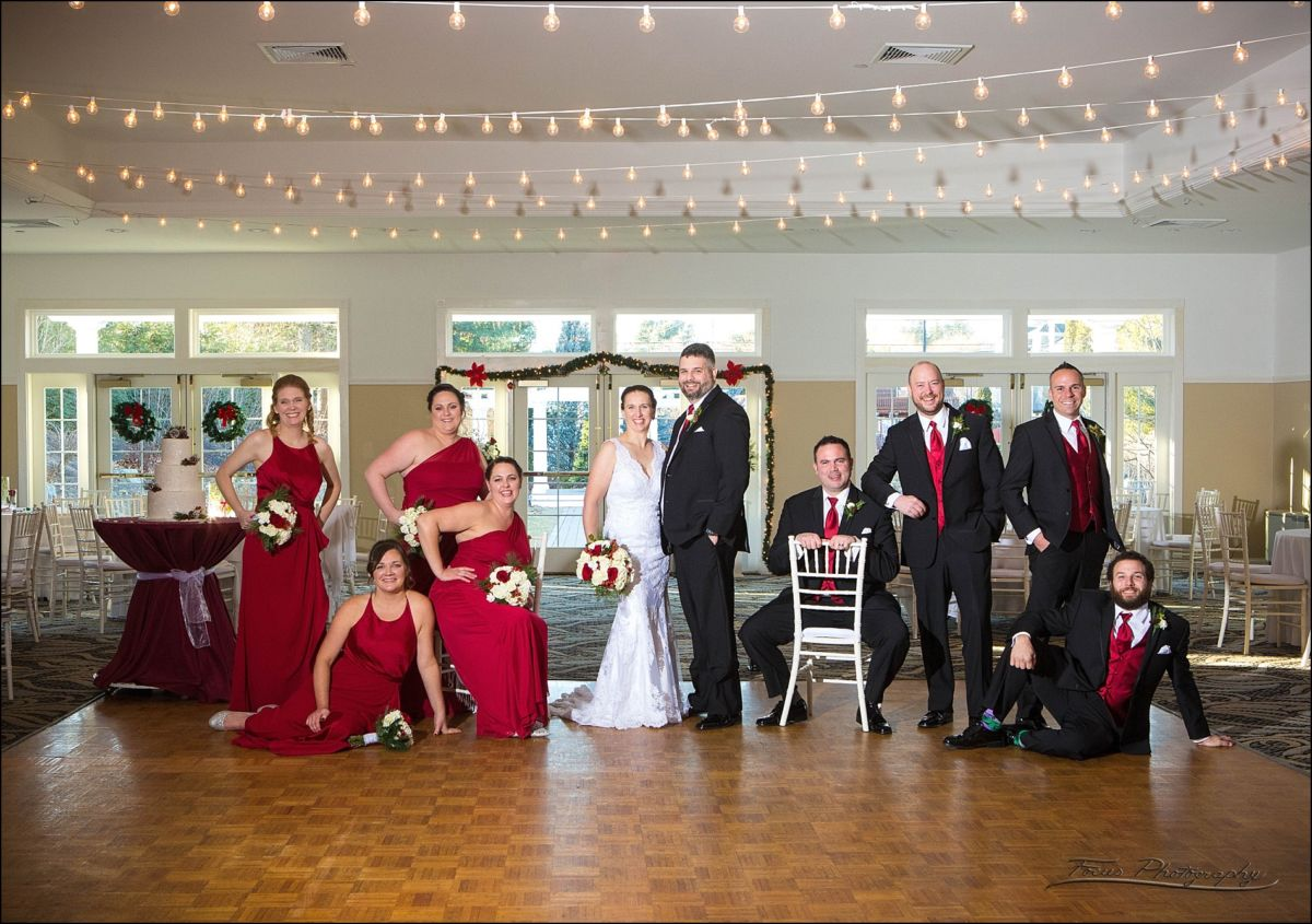 bridal party indoors at  Village by the Sea wedding in Wells, Maine