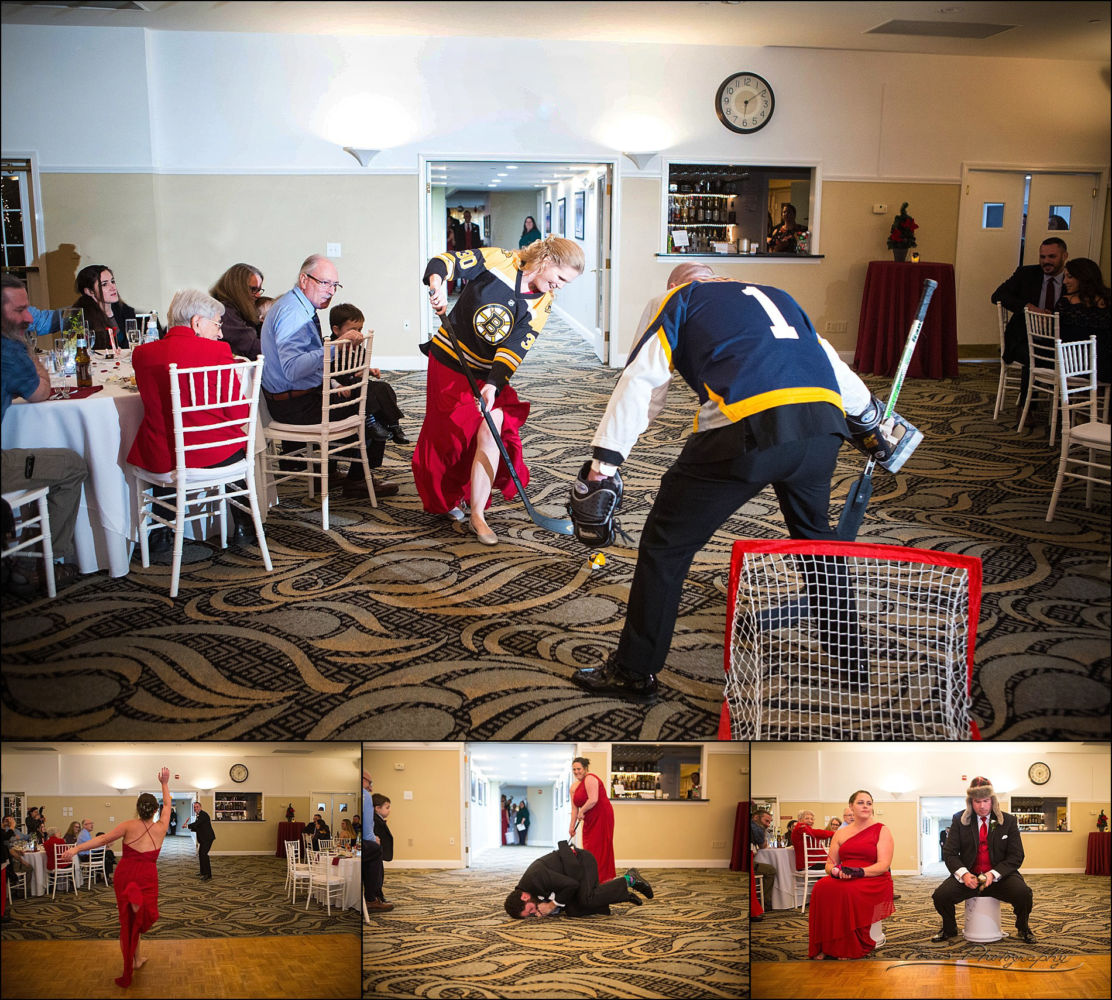 unique bridal party entrances that act out hockey, baseball, golf, and ice fishing.