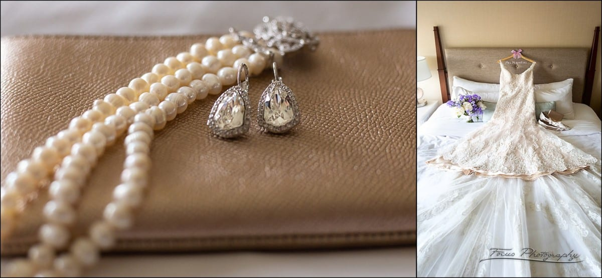 wedding gown, and bride's details