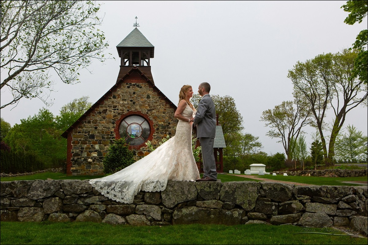 Angela and Tim in front of the Saint Andrew's by the Sea chapel in Rye, NH