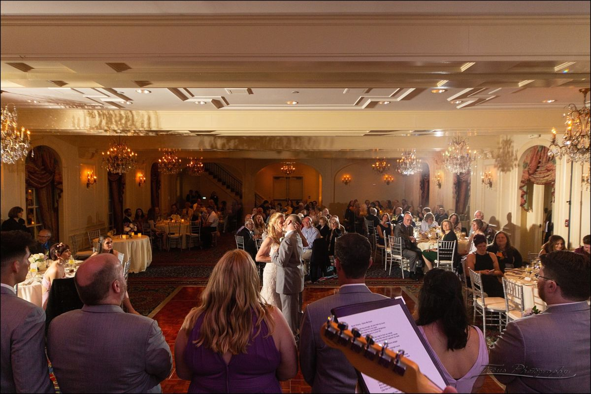 the bride and groom dance in the Wentworth's Grand Ballroom.  Shot from the stage