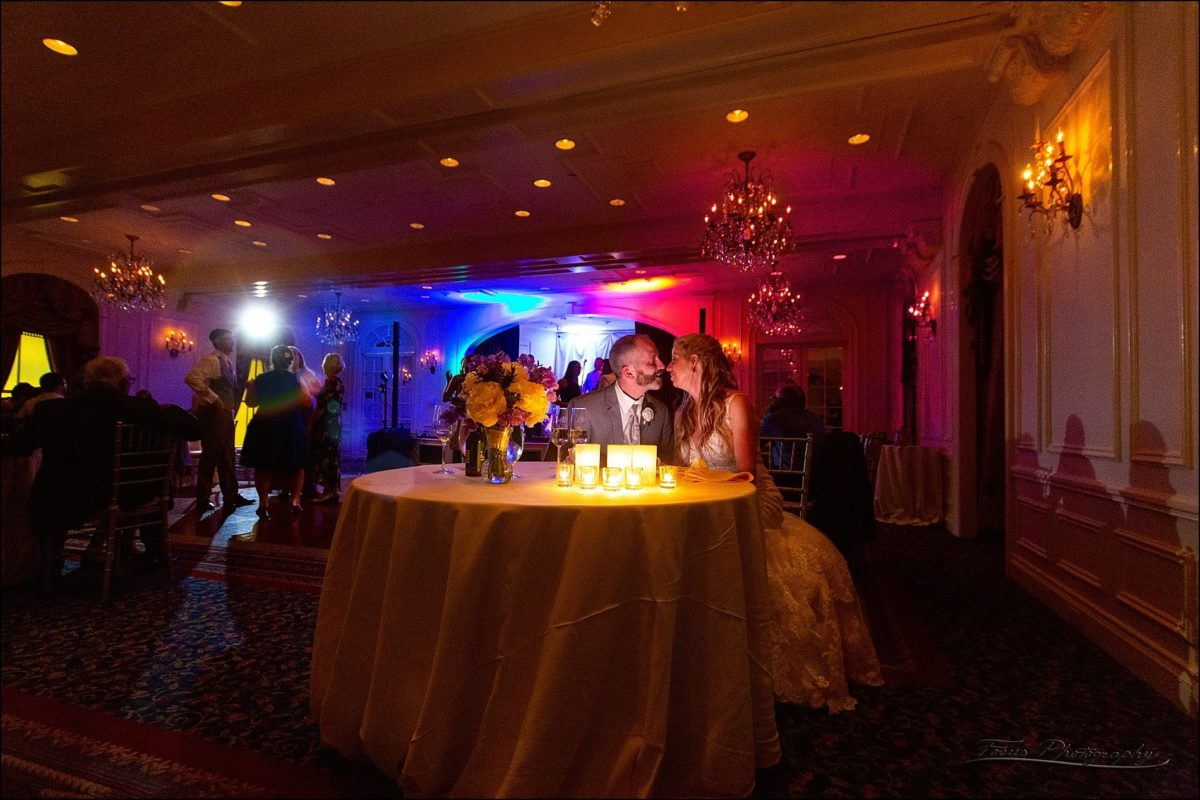 last wedding photograph of the evening, with the dance floor behind them