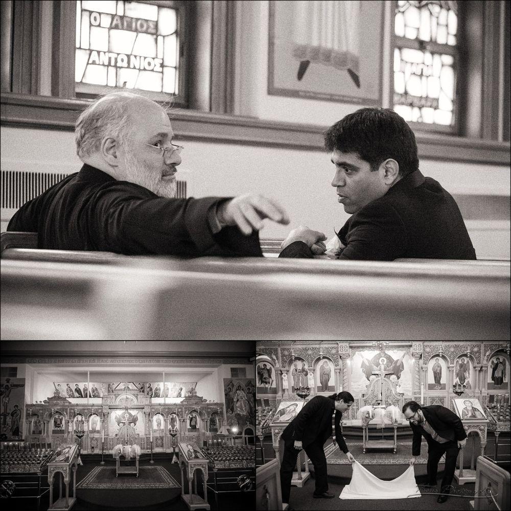 groom talks with priest