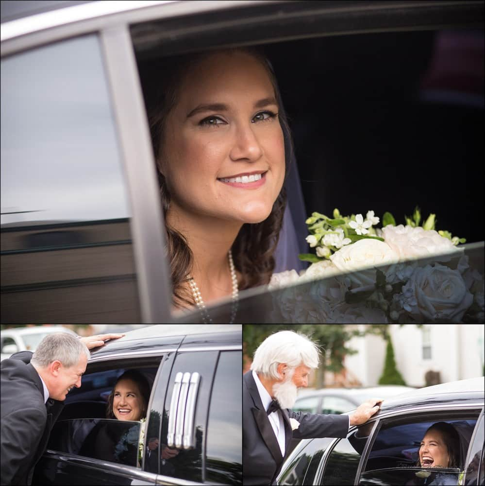 bride in car window of limo