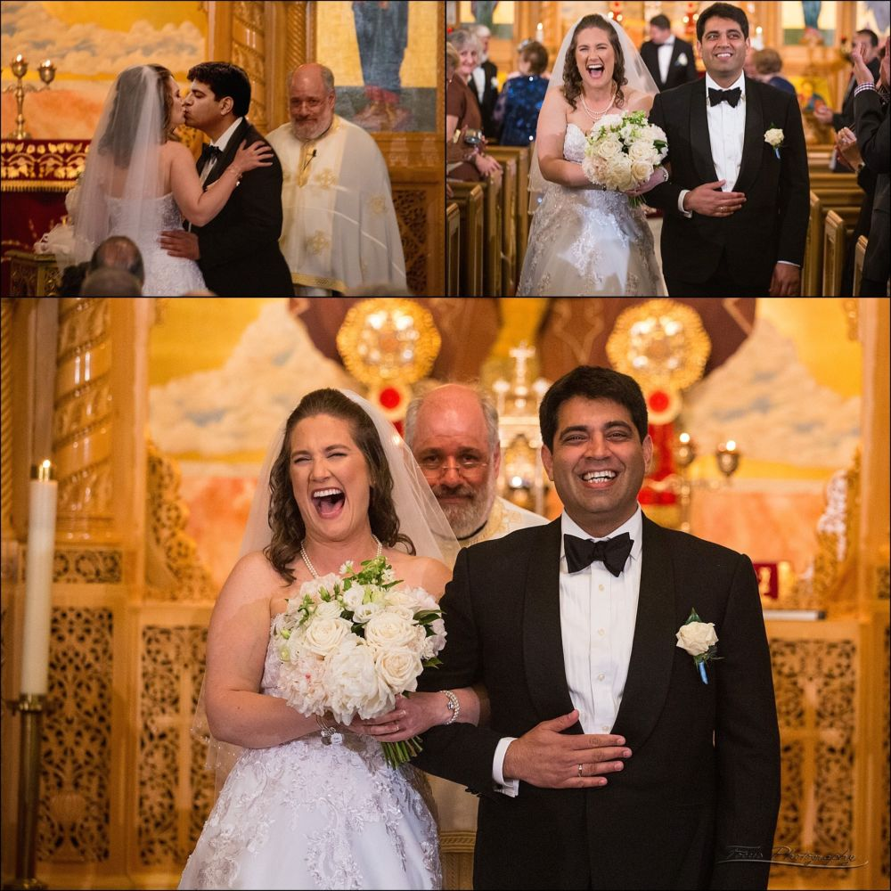 bride and groom at ceremony at greek orthodox church