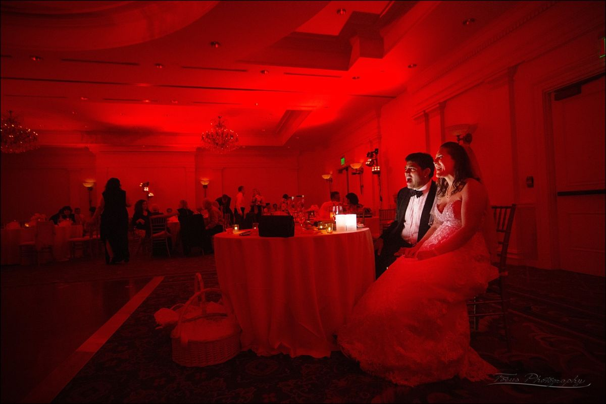 red room at glow on couple at their table