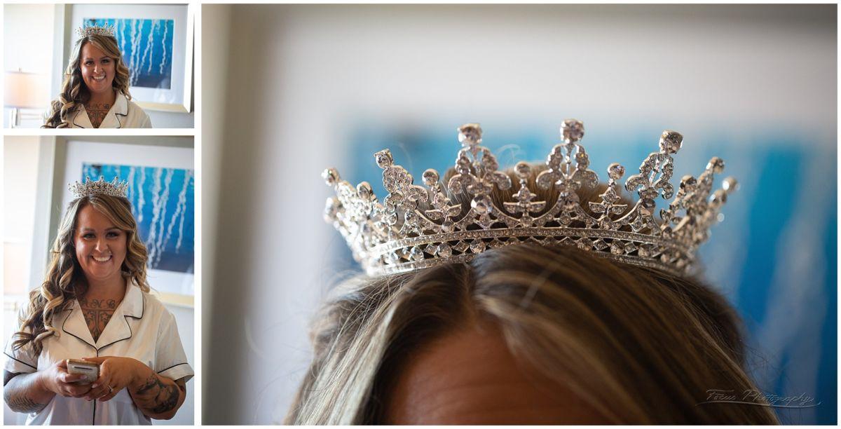 bride in wedding tiara - a lot like a crown!
