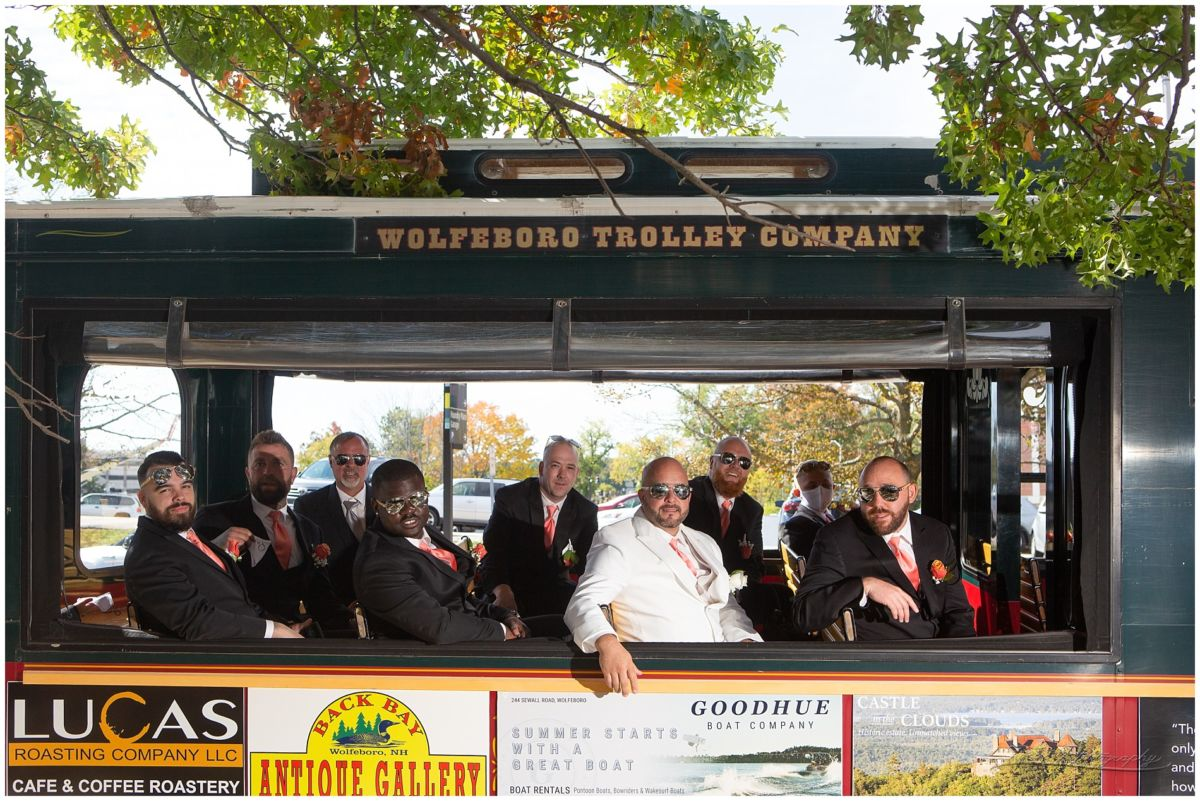 Molly trolly with groomsmen on it