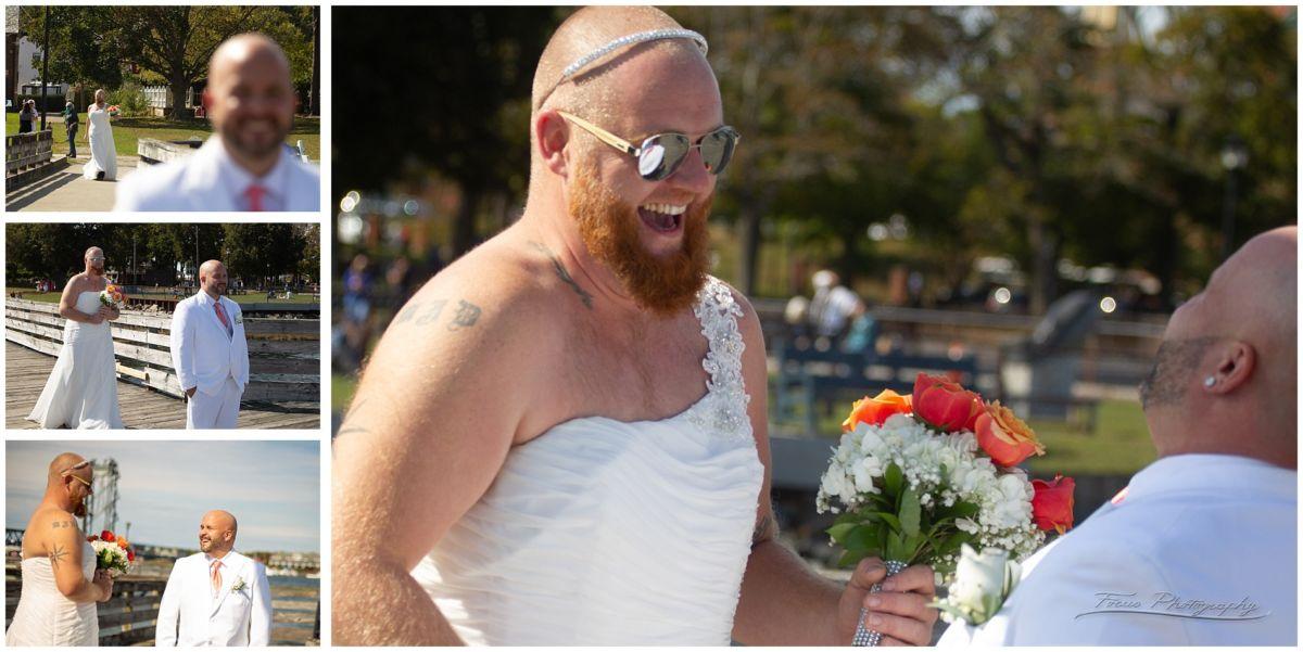 Groomsmen surprises groom with fake first look