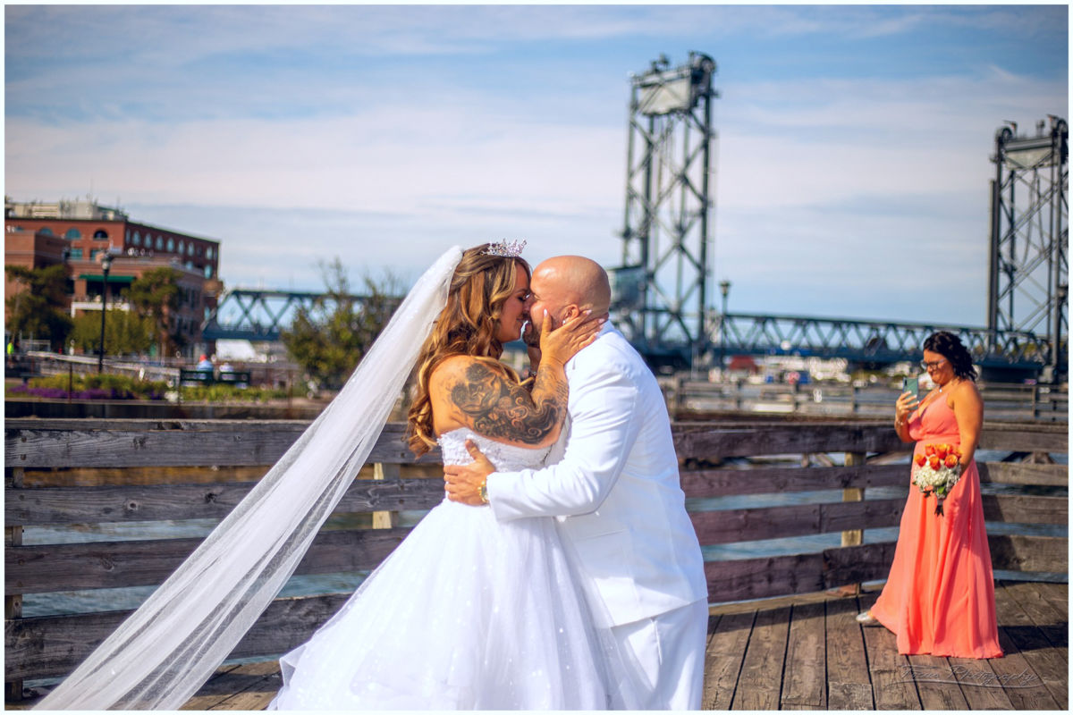 wedding couple in portsmouth nh first look at prescott park