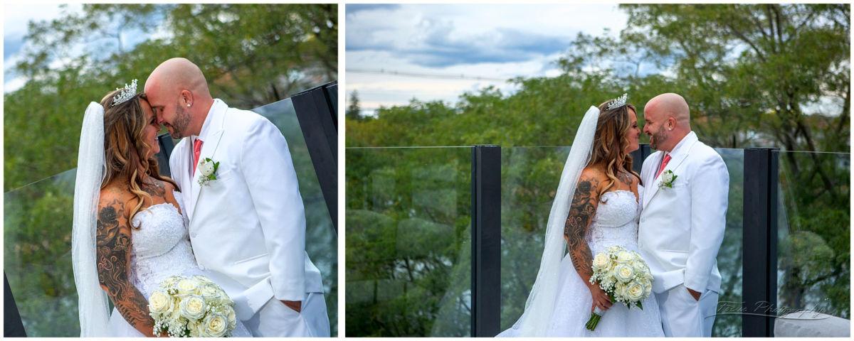 Wedding couple on the balcony at the Envio