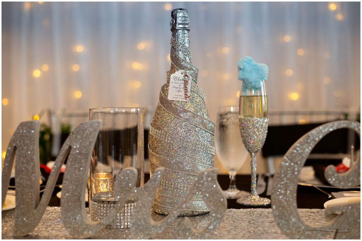 glittery champagne bottles