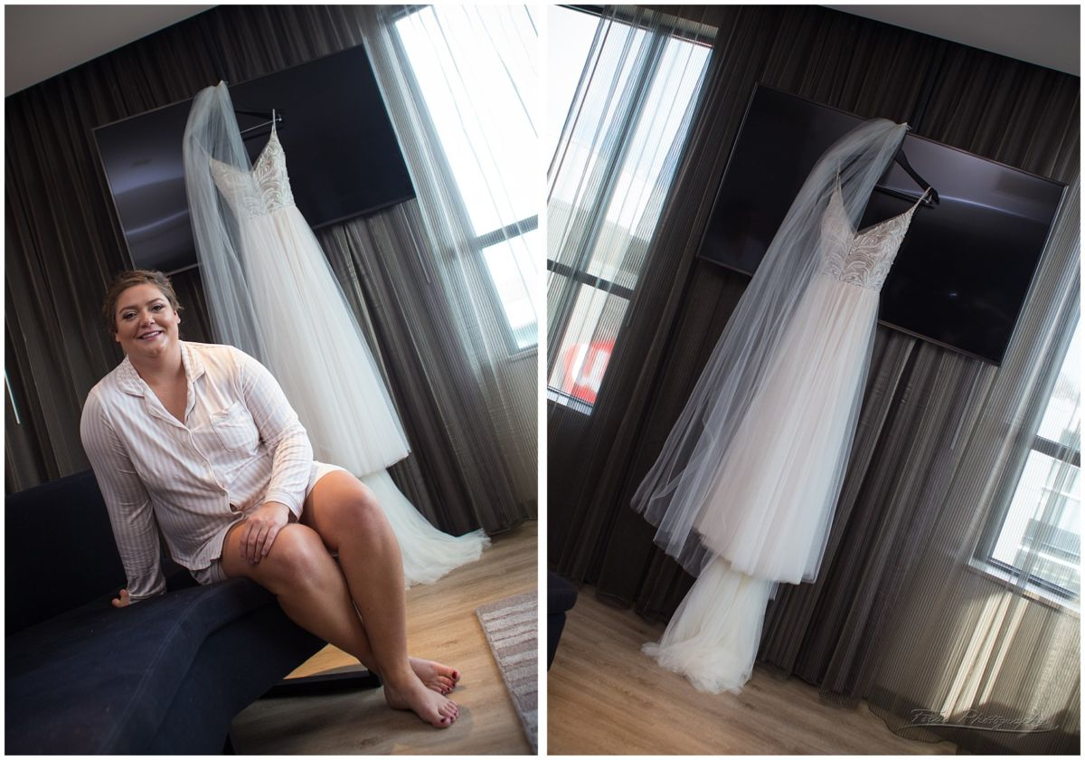 Bride and her dress in the AC hotel suite