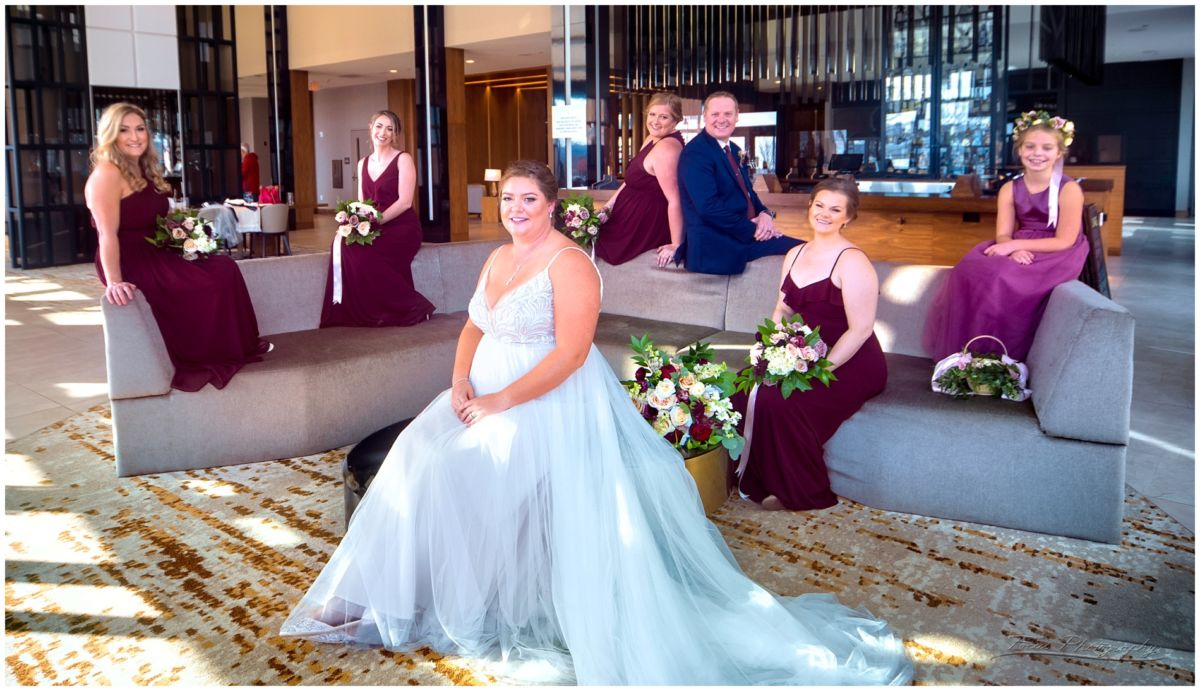 Bridal party in the A.C. Hotel in Portland, ME