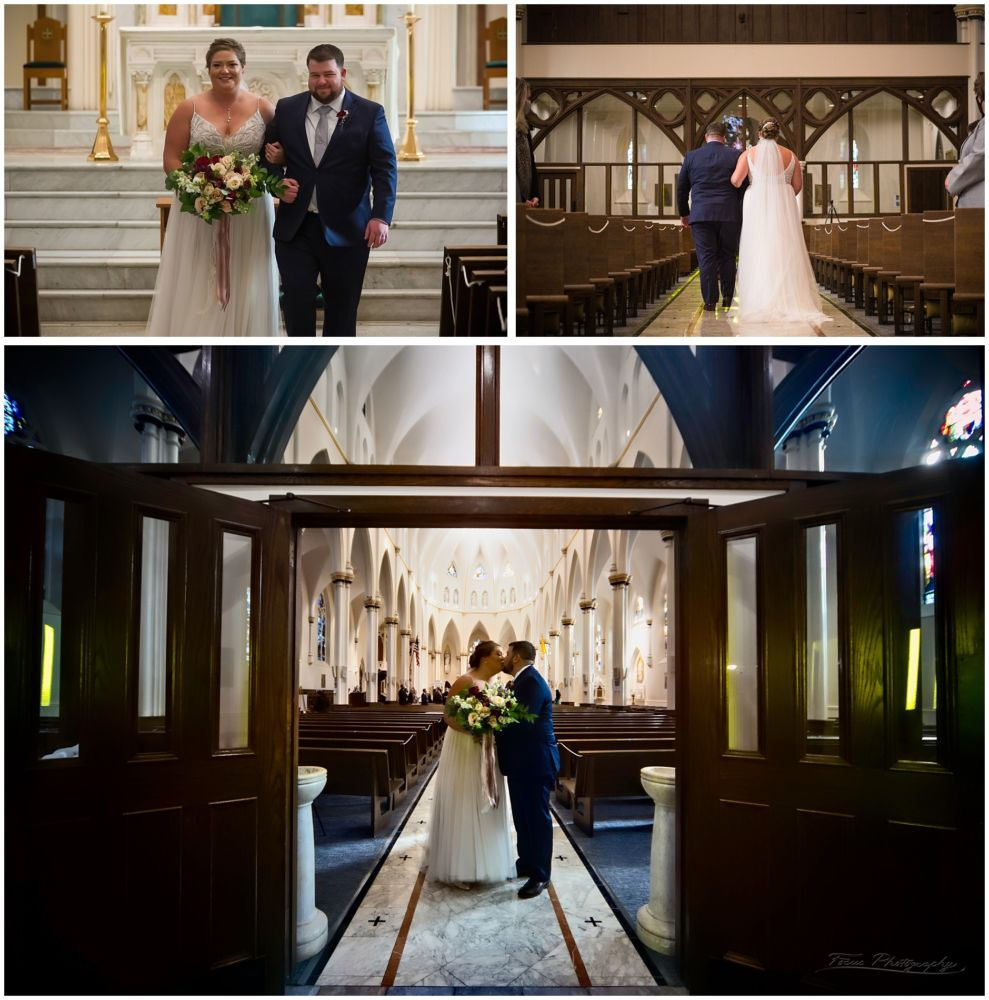 bride and groom at Cathedral of Immaculate Conception in Portlan